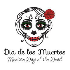 Sign Dia de los muertos. Catrina woman with make up of sugar skull. Mexican Day of the dead. Vector illustration hand drawing