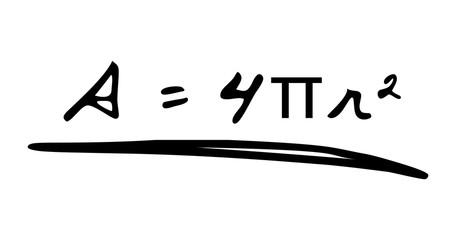 Handwritten Surface Area of Sphere Formula