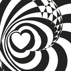 Geometric optical illusion black and white heart on a white background. Vector illustration.