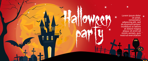 Halloween party banner design with black gothic building and tombstones on red background. Lettering can be used for invitations, signs, announcements