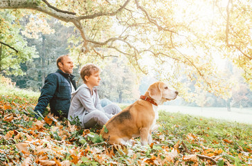 Father, son and beagle dog sitting in autumn park, warm indian summer day