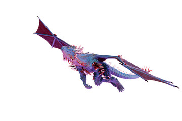 cristal red blue dragon in a white background