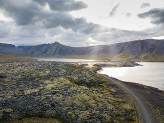 Iceland Landscape drone photography breakthrough of sunlight through clouds