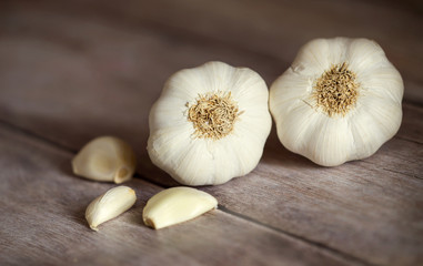 Fresh white garlic - healthy eating vegetable food
