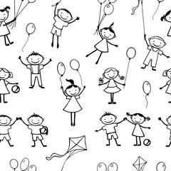 Vector background of playful kids