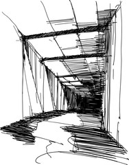hand drawn sketch of abstract modern interior of long curved hall or corridor
