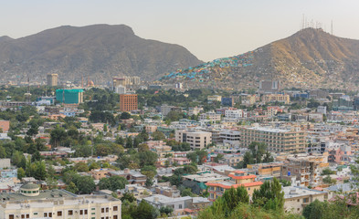 Printed kitchen splashbacks Athens Kabul Afghanistan city scape skyline, mosque and Kabul hills mountains with houses and buildings