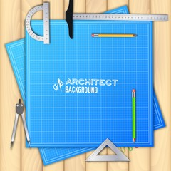 Architect wood table project with professional equipment background concept. Vector illustration design