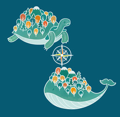 whale turtle map
