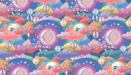 Sun and moon seamless pattern