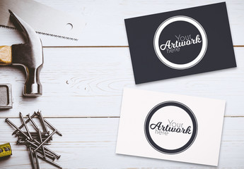 2 Business Cards with Tools Mockup