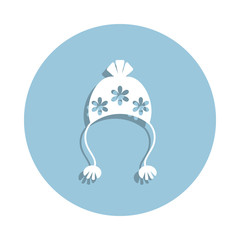 hat with pompom icon in badge style. One of New year collection icon can be used for UI, UX