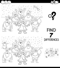 differences game with Christmas Santa color book