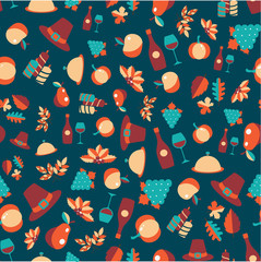 Colorful vector seamless pattern of Thanksgiving objects and symbols
