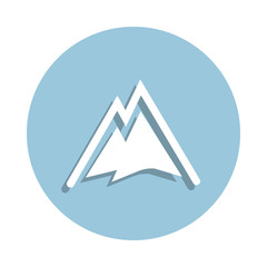 Snowy Mountains logo icon in badge style. One of New year collection icon can be used for UI, UX