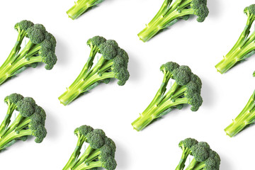 Broccoli cabbage background isolated on white