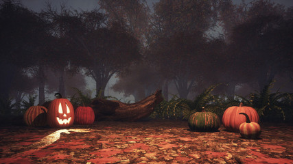 Jack-o-lantern carved halloween pumpkins on a ground covered by fallen autumnal leaves in spooky autumn forest at foggy dusk or night. Fantasy 3D illustration.