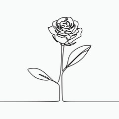 One line drawing of a rose flower. Minimal modern and simple design illustration vector.