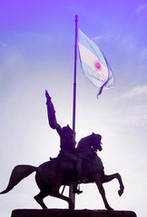 Statue of General Manuel Belgrano and Argentinian Flag in Buenos Aires