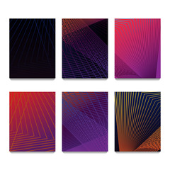 Minimal covers design. Colorful halftone gradients. Future geometric patterns. Eps10 vector. 6 posters set templates.