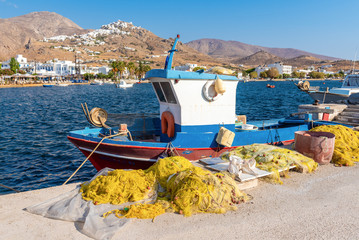 Fishing boat in the port of Livadi. Serifos island, Greece