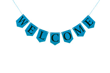 Welcome word. Black letters on blue bunting banner against white background.