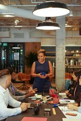 Business people talking in office meeting