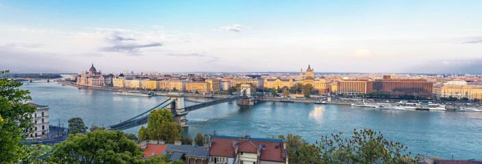 Panoramic view of Budapest and Parliament Building in Hungary in a beautiful autumn