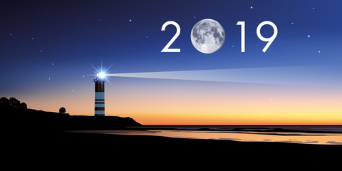 Carte de voeux 2019 avec un phare, symbole du repère à suivre pour choisir la bonne direction pour relever les défis de la nouvelle année