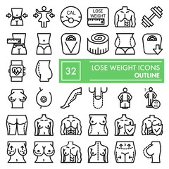 Lose weight line icon set, body symbols collection, vector sketches, logo illustrations, surgery signs linear pictograms package isolated on white background, eps 10.