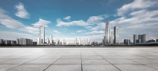 Fototapete - empty ground with modern cityscape shenzhen