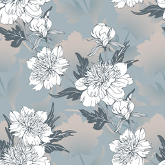 Vintage flowers peonies. Seamless pattern. Vector Illustration for phone case, fabrics, textiles, interior design, cover, paper, gift packaging.