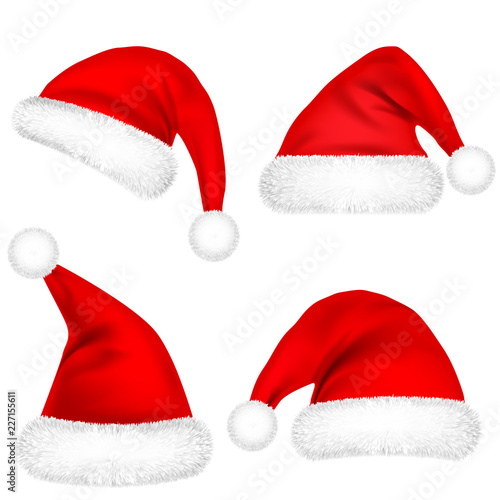 a74c2a8de05e9 Christmas Santa Claus Hats With Fur Set. New Year Red Hat Isolated on White  Background. Winter Cap. Vector illustration.