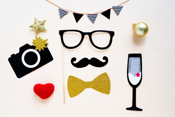 Cute party props accessories on colorful background, happy new year party celebration and holiday concept