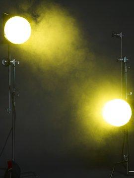 Yellow studio lights