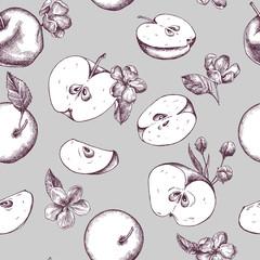 Vector seamless pattern of autumn pattern. Hand drawn vector illustration