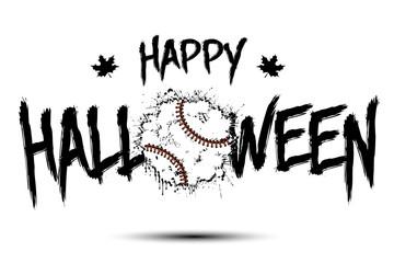 Happy halloween and baseball ball of blots