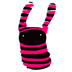 Strange cute black and pink creature with big ears and small beady eyes