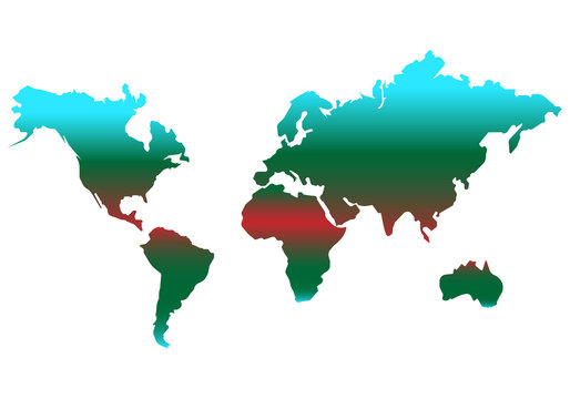 world map vector color icon. simple Flat design