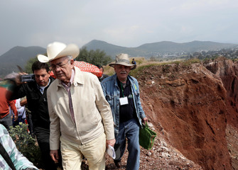 Incoming Minister of Communications and Transportation Javier Jimenez Espriu tours areas affected by the construction of new Mexico City international airport