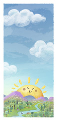 Obraz paisaje con sol ilustracion - fototapety do salonu