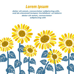 Sunflower background with place for text. Vector illustration.