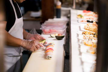 Chef Makes Fresh Plate of Sushi