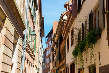 alley in the district La Petite France in Strasbourg, France