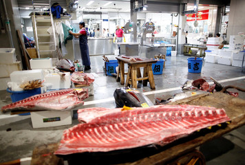 Tuna meat are seen at a wholesalers' area on the opening day of the new Toyosu fish market in Tokyo