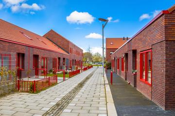 Modern street red brick houses