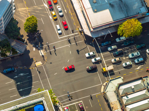 City crossroad scene from above