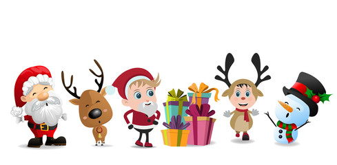 Character of Christmas cute cartoon isolated on white background, vector illustration.