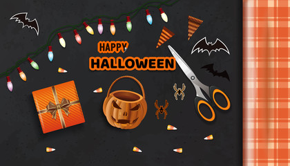 Preparing for the celebration of Halloween. Happy Halloween. Table with gifts for Halloween view from above. Vector illustration