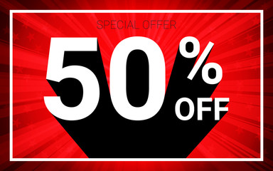 50% OFF Sale. White color 3D text and black shadow on red burst background design. Discount special offer promo advertising concept vector illustration.